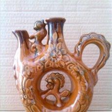 Antigüedades: CURIOSA JARRA BOTIJO EN BARRO VIDRIADO. Lote 63285548