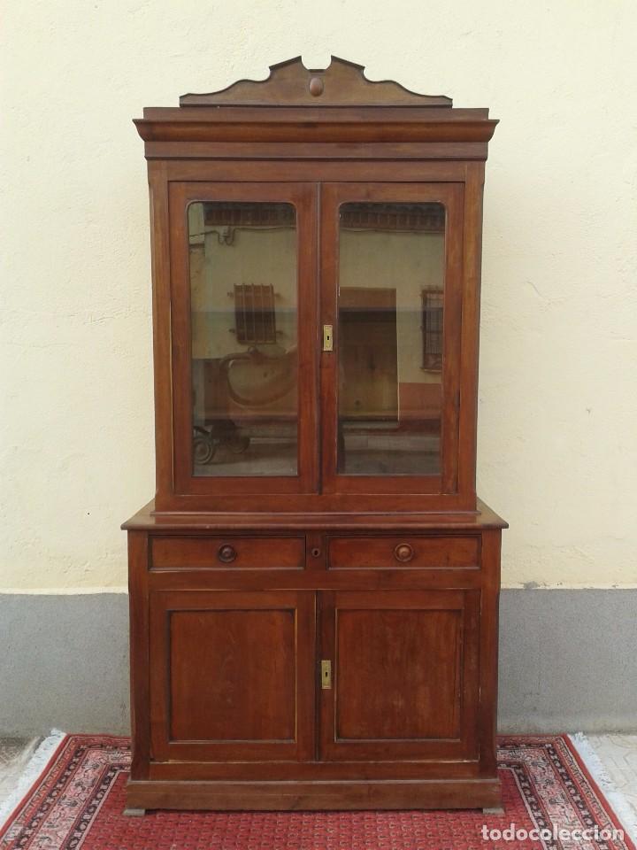Antigüedades: Vitrina antigua estilo isabelino. Mueble librero antiguo Vitrina librería estentería alacena antigua - Foto 9 - 194156217