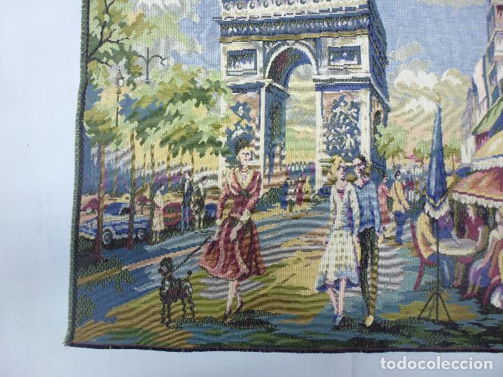 Antigüedades: Tapìz italiano, escena Parisiena años 40 - Foto 2 - 63326896