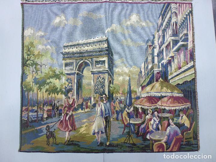 Antigüedades: Tapìz italiano, escena Parisiena años 40 - Foto 4 - 63326896