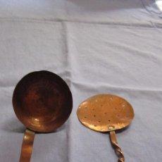 Antigüedades: MINUSCULAS DOS PIEZAS COCINA EN COBRE AÑOS 40. Lote 63372996