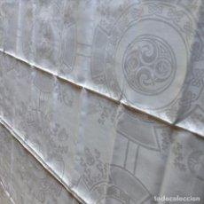 Antiguidades: MANTEL DE DAMASCO DE HILO ANTIGUO. Lote 63390388