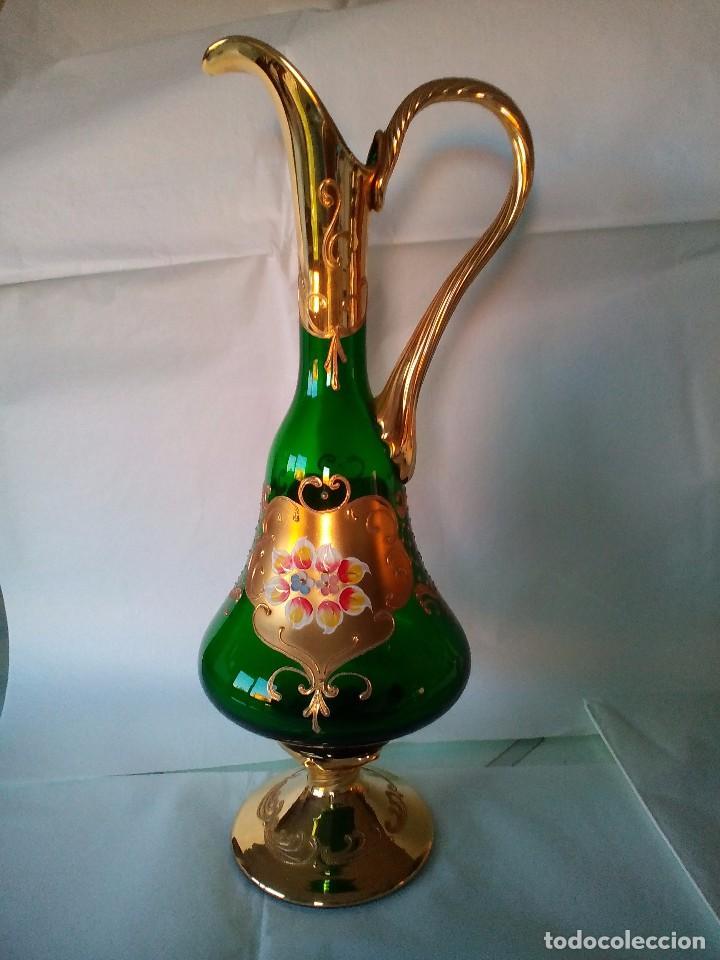 JARRA CRISTAL DE MURANO VERDE Y ORO (Antigüedades - Cristal y Vidrio - Murano)