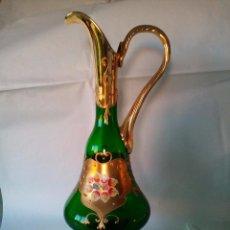 Antigüedades: JARRA CRISTAL DE MURANO VERDE Y ORO. Lote 63412976