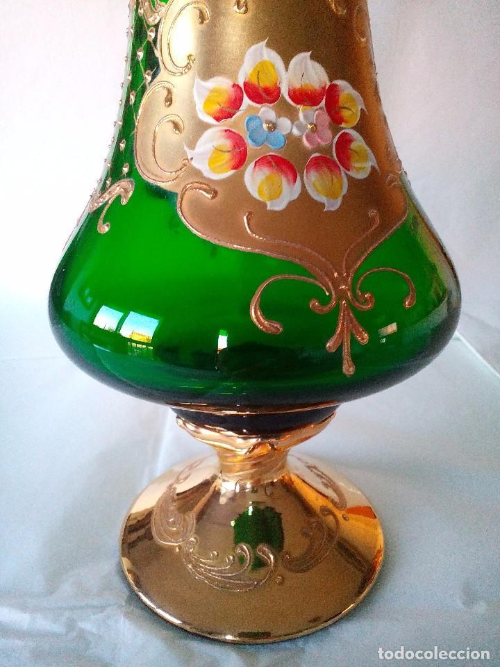 Antigüedades: Jarra cristal de murano verde y oro - Foto 2 - 63412976