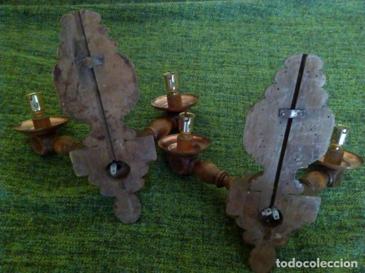 Antigüedades: PAREJA APLIQUES MADERA - Foto 4 - 63466168