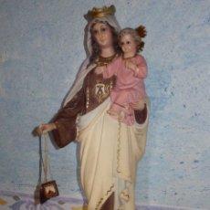Antigüedades: IMAGEN - VIRGEN CON NIÑO - ESCAYOLA - SOBRE PEANA DE MADERA - A IDENTIFICAR - 33 CM.. Lote 63507856