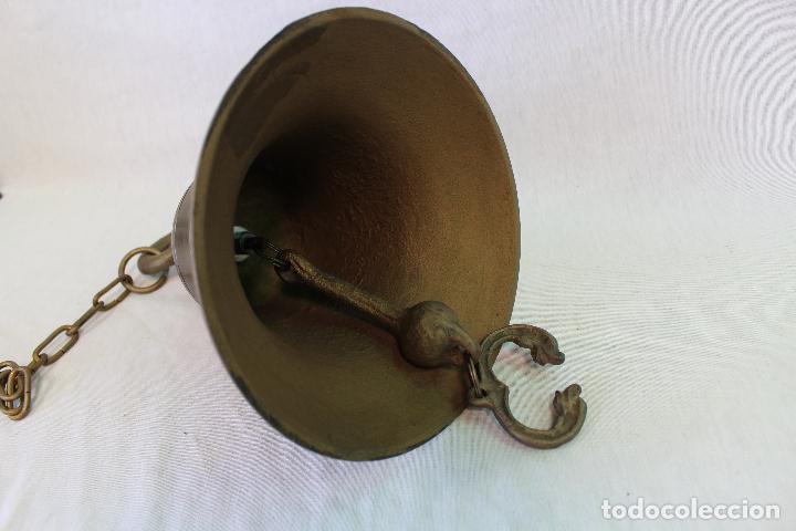 Antigüedades: campana en hierro fundido y color dorado envejecido - Foto 6 - 161822736
