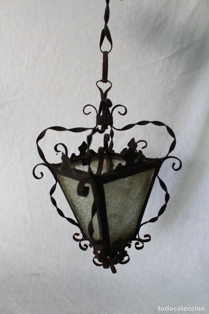 LAMPARA FAROL DE TECHO ANTIGUO EN HIERRO DE FORJA (Antigüedades - Iluminación - Faroles Antiguos)