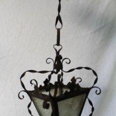 Antigüedades: LAMPARA FAROL DE TECHO ANTIGUO EN HIERRO DE FORJA. Lote 63511112