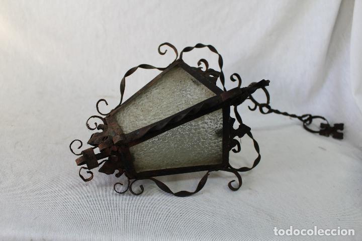 Antigüedades: lampara farol de techo antiguo en hierro de forja - Foto 2 - 63511112