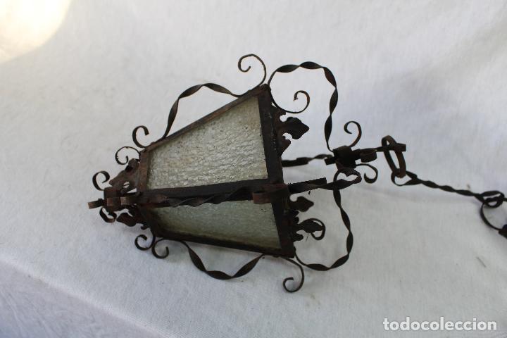 Antigüedades: lampara farol de techo antiguo en hierro de forja - Foto 3 - 63511112