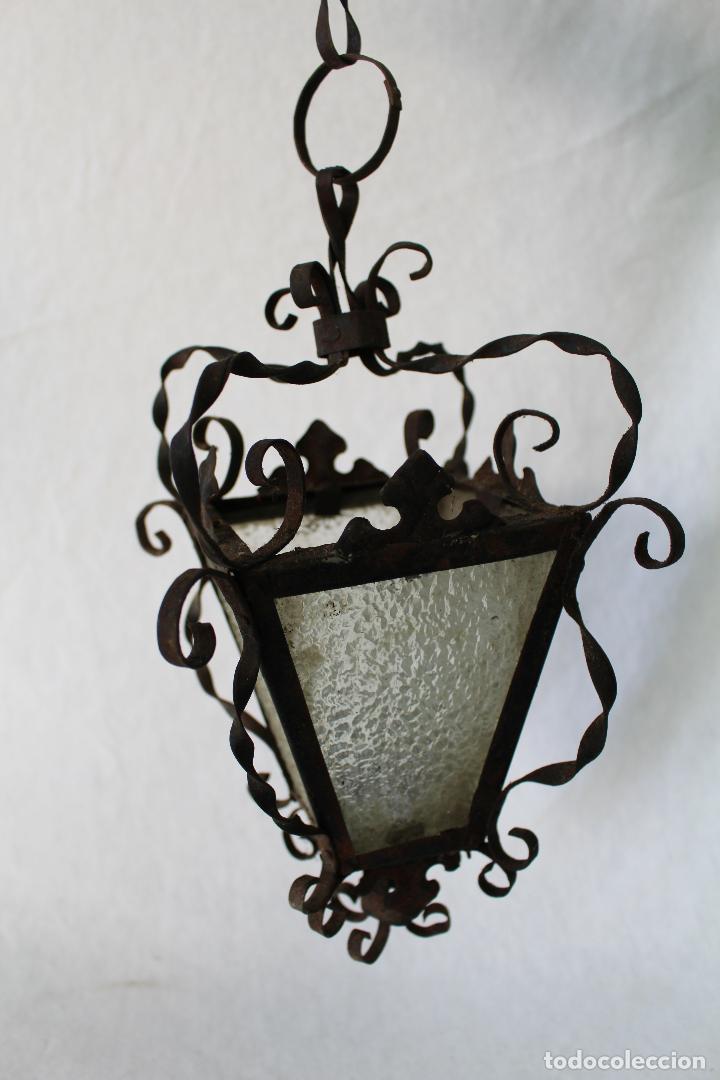 Antigüedades: lampara farol de techo antiguo en hierro de forja - Foto 6 - 63511112