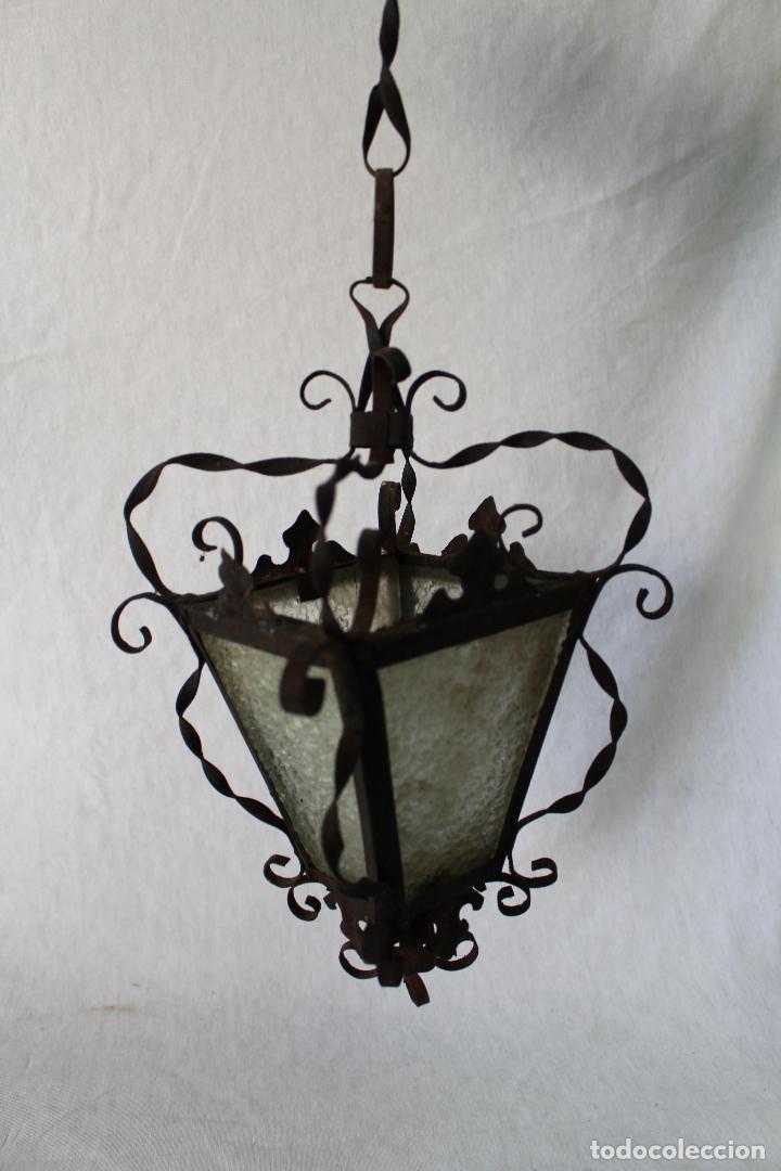 Antigüedades: lampara farol de techo antiguo en hierro de forja - Foto 7 - 63511112