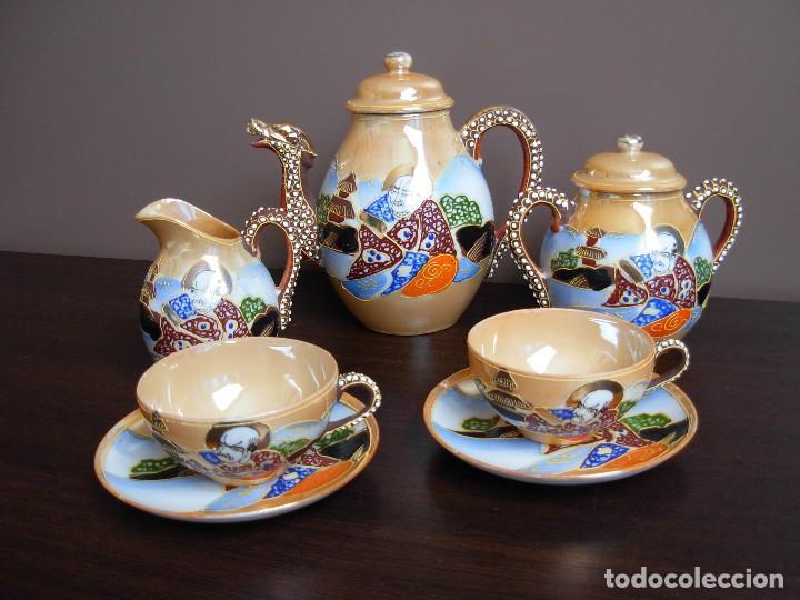 JUEGO DE TE JAPONÉS DE DOS SERVICIOS. CON SELLO (Antigüedades - Porcelana y Cerámica - Japón)