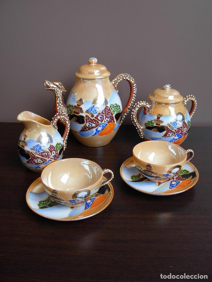 Antigüedades: Juego de te japonés de dos servicios. Con sello - Foto 16 - 63535388