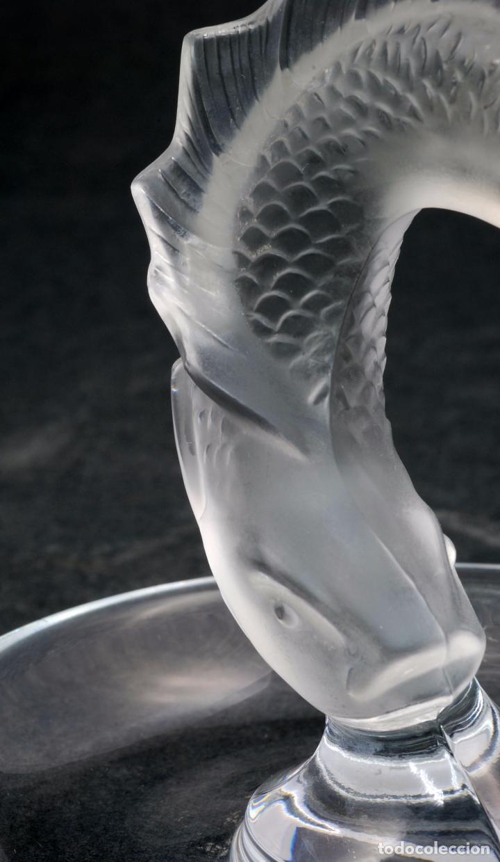 Antigüedades: Centro cristal Lalique France marca con pez tallado S XX - Foto 5 - 63639259