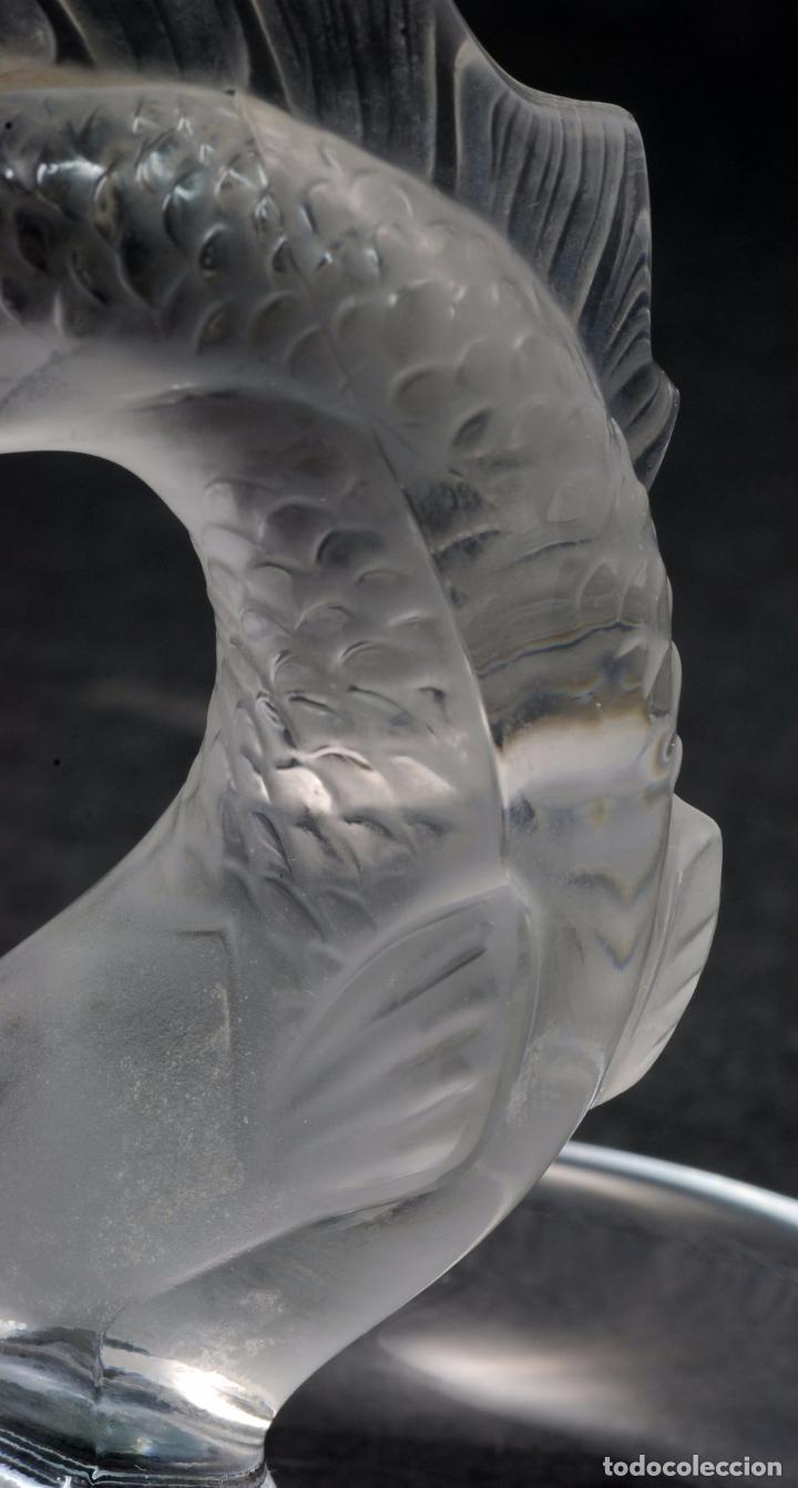 Antigüedades: Centro cristal Lalique France marca con pez tallado S XX - Foto 7 - 63639259