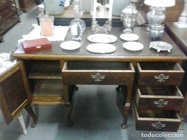 Antigüedades: Mesa de despacho en madera nogal - Foto 4 - 63682411