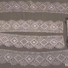 Antigüedades: DELICADA PUNTILLA DE BOLILLOS COLOR MARFIL PARA JUEGO DE CAMA. SIN ESTRENAR. 8 CM ANCHO.. Lote 63688475
