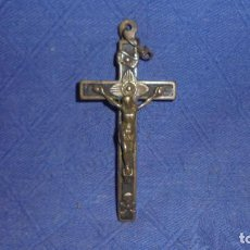 Antigüedades: ANTIGUA CRUZ SIGLO XIX, BRONCE Y MADERA , MED. 7,5X4 CM. . Lote 63775779