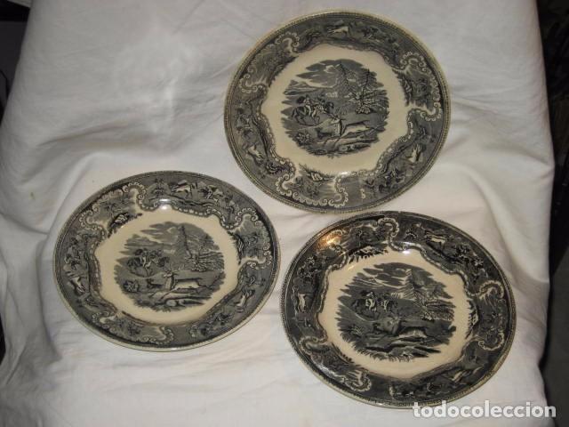 LOTE DE 3 PLATOS ANTIGUOS - LAS AMISTADES - CARTAGENA (Antigüedades - Porcelanas y Cerámicas - Cartagena)