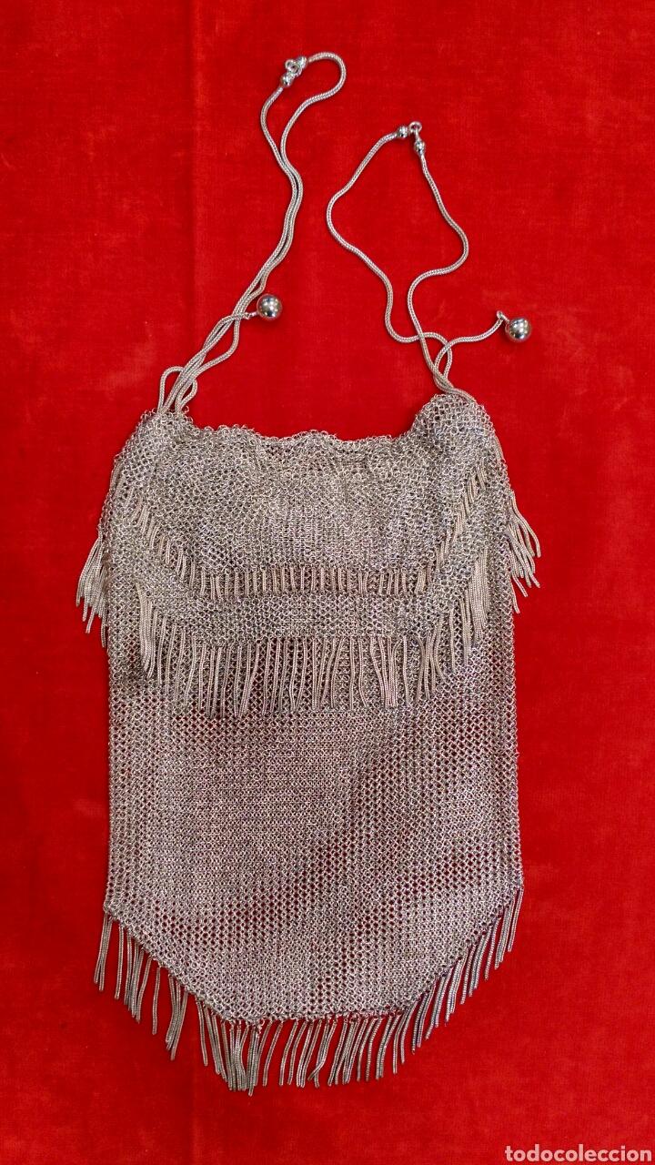 BOLSO DE REJILLA DE PLATA DEL SIGLO XIX (Antigüedades - Moda - Bolsos Antiguos)
