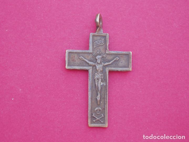 PRECIOSA CRUZ MEDALLA SIGLO XVIII - XIX SÍMBOLOS DE LA PASIÓN. (Antigüedades - Religiosas - Crucifijos Antiguos)