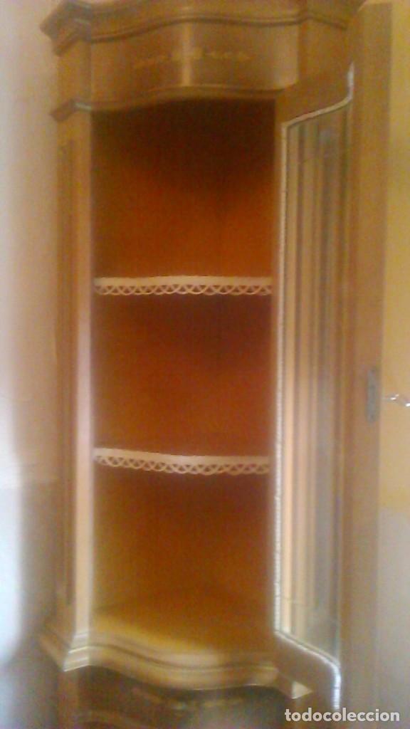 Antigüedades: Preciosa vitrina rinconera con marquetería,cristal curvo,madera noble.inglesa. - Foto 7 - 63964111