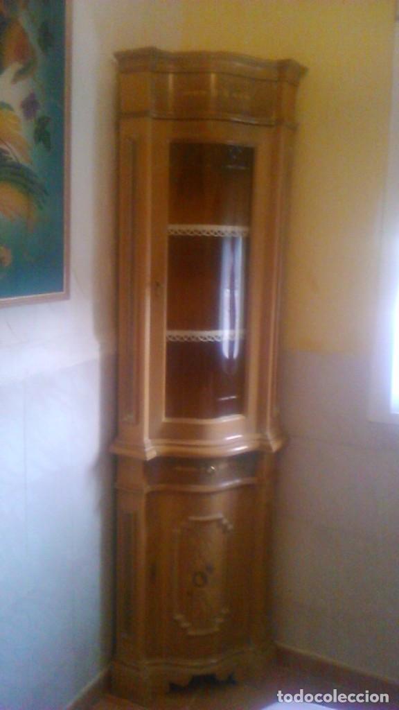 Antigüedades: Preciosa vitrina rinconera con marquetería,cristal curvo,madera noble.inglesa. - Foto 12 - 63964111