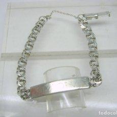 Antigüedades: BELLA PULSERA ESCLAVA DE PLATA DOBLE CADENA - CONTRASTE 925 - PAQUI. Lote 63977591