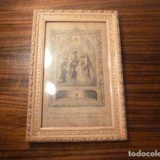 Antigüedades: MARCO DE MADERA CON RECUERDO PRIMERA COMUNION 1908. Lote 63997047