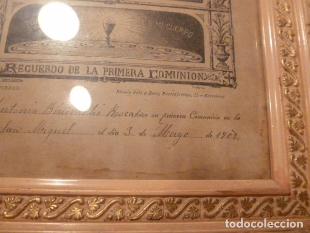 Antigüedades: marco de madera con recuerdo primera comunion 1908 - Foto 8 - 63997047