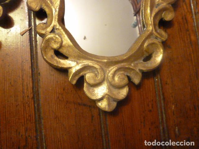 Antigüedades: pareja de espejos dorados de madera y oro - Foto 2 - 64028495