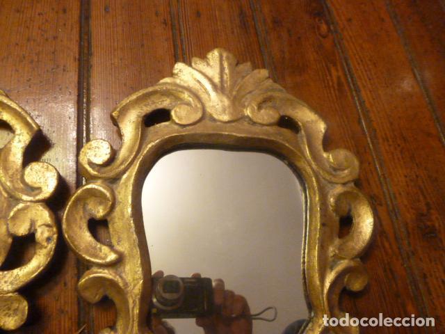 Antigüedades: pareja de espejos dorados de madera y oro - Foto 3 - 64028495