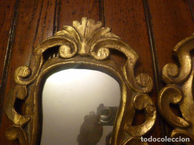 Antigüedades: pareja de espejos dorados de madera y oro - Foto 4 - 64028495