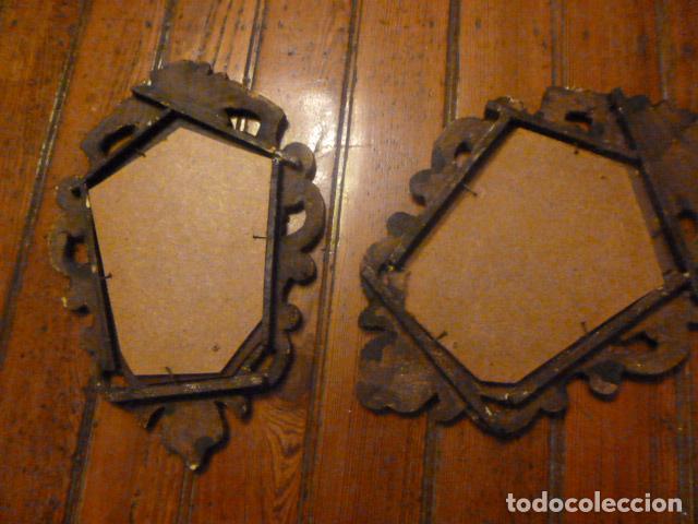 Antigüedades: pareja de espejos dorados de madera y oro - Foto 7 - 64028495