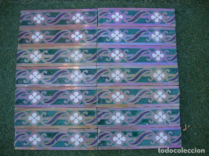 LOTE DE 14 AZULEJOS RAMOS REJANO (Antigüedades - Porcelanas y Cerámicas - Azulejos)