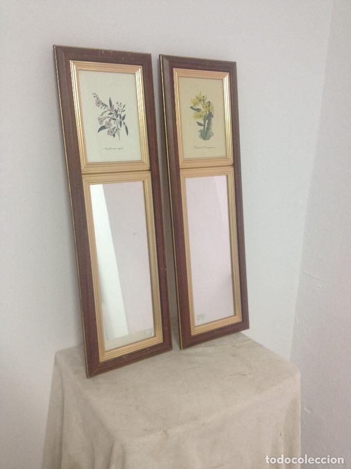 cuadritos flores y espejos alargados marco madera antigedades muebles antiguos espejos antiguos