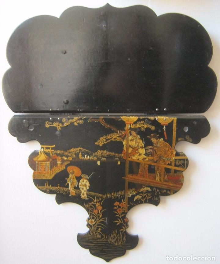 ANTIGUA REPISA - PEANA DE PAPEL MACHE S.XIX (Antigüedades - Muebles Antiguos - Repisas Antiguas)