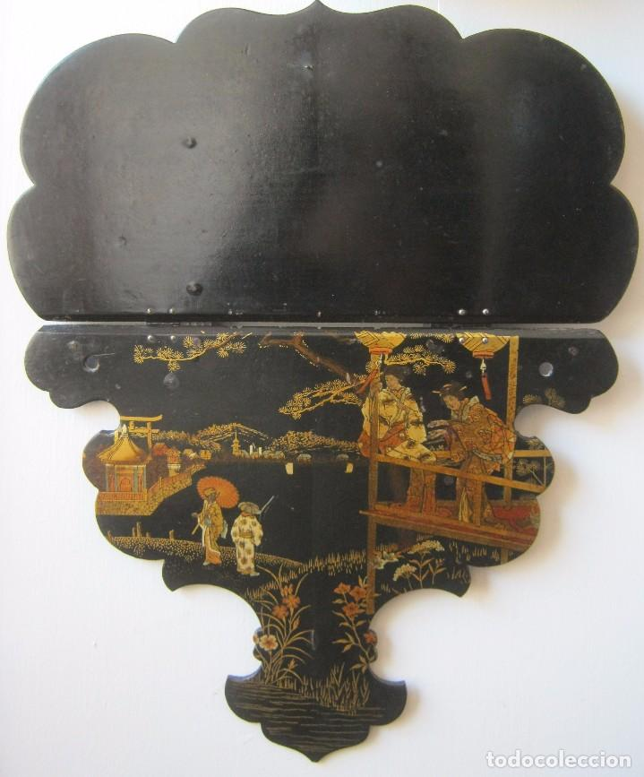 Antigüedades: ANTIGUA REPISA - PEANA DE PAPEL MACHE S.XIX - Foto 5 - 64083391