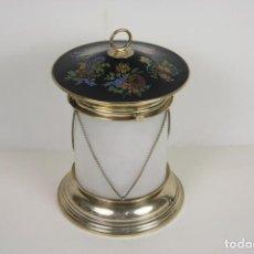 Antigüedades: LÁMPARA DE SOBREMESA. PLATA DE LEY. FORMA DE FAROL. SCHOTT SUPRAX GLASS. XX. Lote 45531518