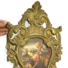 Antigüedades: PRECIOSA CORNUCOPIA MADERA DORADA ANTIGUA CON IMAGEN RELIGIOSA IDEAL ESPEJO. Lote 64102971