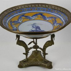 Antigüedades: CENTRO DE MESA. PORCELANA Y BRONCE DORADO. FRANCIA?. SIGLO XVIII-XIX. Lote 64112807