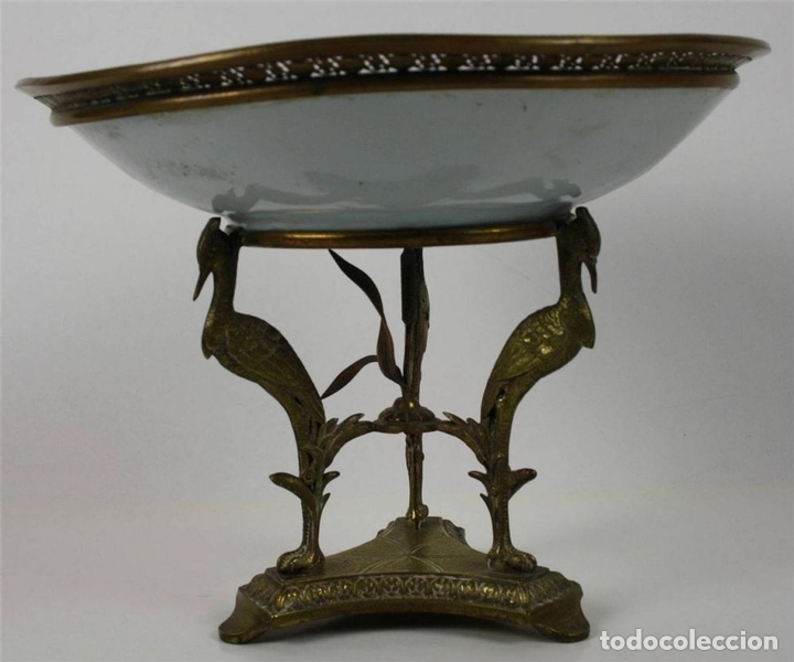 Antigüedades: CENTRO DE MESA. PORCELANA Y BRONCE DORADO. FRANCIA?. SIGLO XVIII-XIX - Foto 2 - 64112807