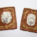 Antigüedades: ESCAPULARIOS NUESTRA SEÑORA DEL CARMEN - SEDA BORDADA Y TELA IMPRESA - 5 * 4 CM - S. XIX. Lote 45421236