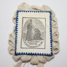 Antigüedades: ESCAPULARIO SAN FRANCISCO DE ASÍS - TELA IMPRESA - 7 * 6 CM - PRINC. S. XX. Lote 45421366