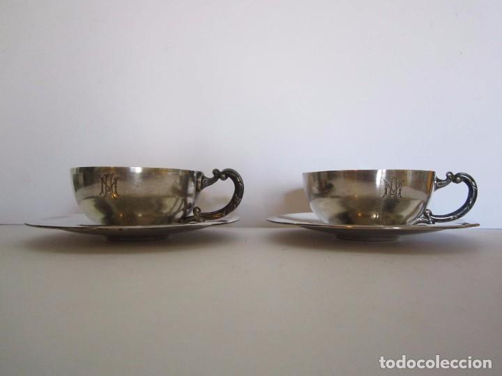 JUEGO DE 2 TAZAS DE CAFE PLATA DE LEY 916/1000 DE LA JOYERIA MALDE (Antigüedades - Platería - Plata de Ley Antigua)