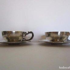 Antigüedades: JUEGO DE 2 TAZAS DE CAFE PLATA DE LEY 916/1000 DE LA JOYERIA MALDE . Lote 64136267