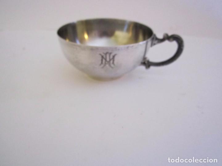 Antigüedades: JUEGO DE 2 TAZAS DE CAFE PLATA DE LEY 916/1000 DE LA JOYERIA MALDE - Foto 3 - 64136267
